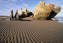"Africa, Morocco, Essaouira, Bordj El Berod, ruined fort on beach with ripples in sand.  This fort inspired the Jimi Hendrix song ""Castles Made of Sand"""