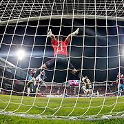 Gaziantepspor's goalkeeper Karcemarskas (C) during their Turkish Super League match Trabzonspor between Gaziantepspor at the Avni Aker Stadium at Trabzon Turkey on Wednesday, 28 October 2015. Photo by Aykut AKICI/TURKPIX