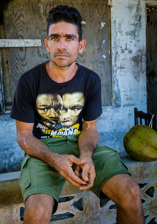 BARACOA, CUBA - CIRCA JANUARY 2020: Portrait of young man in Boca de Yumuri, a hamlet close to Baracoa in Cuba.