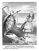 "Europa in the Disarmament Wonderland. "" Some day,"" said the mock turtle dove at last with a deep sigh, "" I hope to be a real turtle dove."" (Europa dressed as Alice in Wonderland and the dove with an armoured turtle back and gas mask beak)"