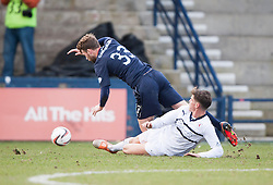Raith Rovers Ross Callachan brings down Falkirk's Rory Loy.<br /> Raith Rovers 2 v 4 Falkirk, Scottish Championship game today at Starks Park.<br /> © Michael Schofield.