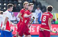 LONDON -  Unibet Eurohockey Championships 2015 in  London. Belgium v Russia. Belgium Tom Bon (m) has scored 2-0.  WSP Copyright  KOEN SUYK