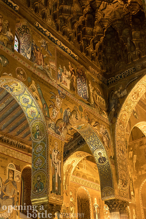 View of the ceiling and alcoves of the Cappella Palatina (Palatine Chapel) inside the Palazzo dei Normanni in Palermo, Sicily.