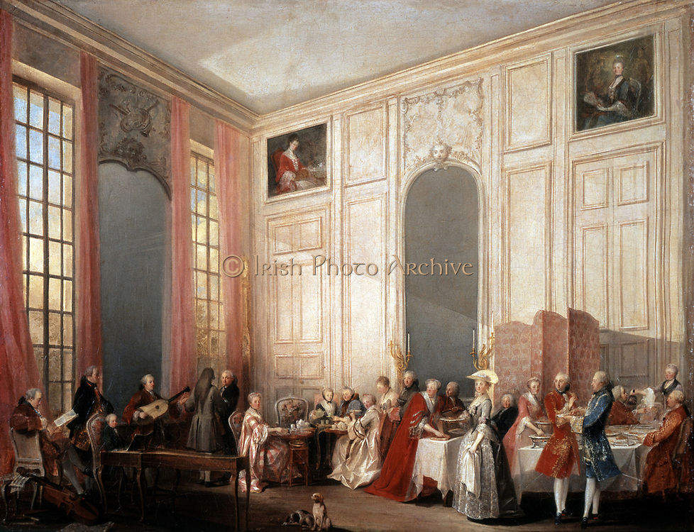 Le The a l'Anglaise' (Tea served  in the English fashion in the salons of the Four Mirrors,  Palace of the Temple, Paris , 1764). On the left the young Mozart  sits at the clavichord. Ollivier Michel, Barthelemy (1712-1784), French painter.