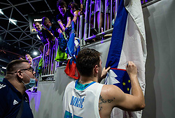 Luka Doncic of Slovenia with his fans after the friendly basketball match between National teams of Slovenia and Croatia, on June 18, 2021 in Arena Stozice, Ljubljana, Slovenia. Photo by Vid Ponikvar / Sportida