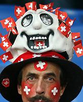 GEPA-1106086008 - BASEL,SCHWEIZ,11.JUN.08 - FUSSBALL - UEFA Europameisterschaft, EURO 2008, Schweiz vs Tuerkei, SUI vs TUR, Vorberichte. Bild zeigt einen Fan der Schweiz.<br />Foto: GEPA pictures/ Philipp Schalber