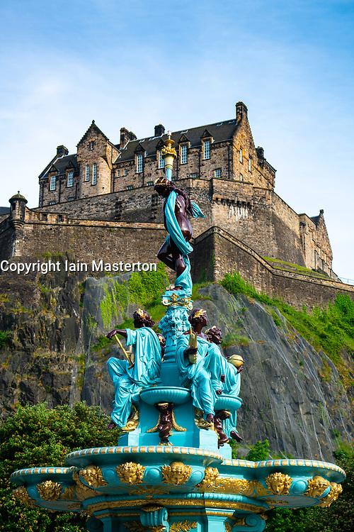 View of ornate newly restored Ross Fountain in Princes Street gardens , Edinburgh, Scotland, UK
