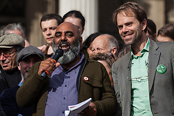 London, UK. 16 October, 2019. Asad Rehman, Executive Director at War on Want, addresses hundreds of climate activists from Extinction Rebellion defying the Metropolitan Police prohibition on Extinction Rebellion Autumn Uprising protests throughout London under Section 14 of the Public Order Act 1986 by attending a Right to Protest assembly in Trafalgar Square.