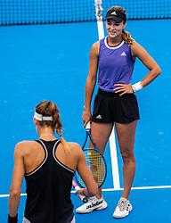 PORTOROZ, SLOVENIA - SEPTEMBER 18: Anna<br /> Kalinskaya and Tereza<br /> Mihalikova during the double finals of WTA 250 Zavarovalnica Sava Portoroz at SRC Marina, on September 19, 2021 in Portoroz / Portorose, Slovenia. Photo by Nik Moder / Sportida
