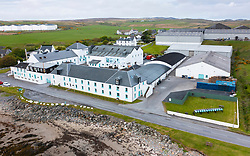 Aerial view from drone of Bruichladdich scotch whisky distillery on Islay , Inner Hebrides , Scotland, UK