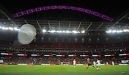 The famous Wembley Stadium with the floodlit Pink arch during the 2nd half of the match.<br /> - Womens International Football - England vs Germany - Wembley Stadium - London, England - 23rdNovember 2014  - Picture Robin Parker/Sportimage