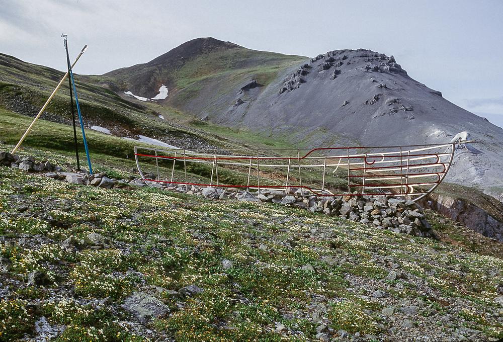 Friendship sculpture pointing toward Alaska, East Cape, Chukotsk Peninsula, near the NE tip of Asia, Chukchi Sea, NE, Russia.