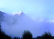 © Licensed to London News Pictures. 07/08/2012. Chamonix, France. The Aguille de Midi at dawn. Photo credit : Stephen Simpson/LNP
