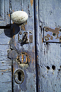 Weathered painted door, Pisco Elqui, Chile.