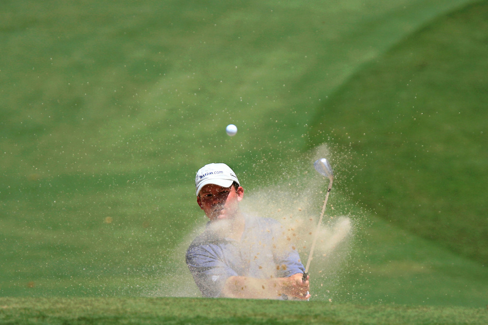 12 August 2007: Shaun Micheel hits out of the grren-side bunker on the 12th hole during the final round of the 89th PGA Championship at Southern Hills Country Club in Tulsa, OK.