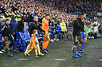 Football - 2018 / 2019 Premier League - Cardiff City vs. Leicester City<br /> <br /> Leicester walk onto the pitch in Leicster's 1st match since the death of Vichai Srivaddhanaprabha, at Cardiff City Stadium.<br /> <br /> COLORSPORT/WINSTON BYNORTH