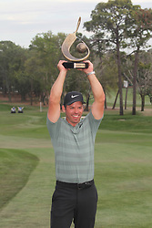March 11, 2018 - Palm Harbor, FL, U.S. - PALM HARBOR, FL - MARCH 11: 2018 Valspar champion Paul Casey poses with the winner's trophy after the final round of the Valspar Championship on March 11, 2018, at Westin Innisbrook-Copperhead Course in Palm Harbor, FL. (Photo by Cliff Welch/Icon Sportswire) (Credit Image: © Cliff Welch/Icon SMI via ZUMA Press)