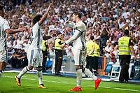 Real Madrid's player Alvaro Morata and Marcelo celebrating a goal during a match of La Liga Santander at Santiago Bernabeu Stadium in Madrid. August 27, Spain. 2016. (ALTERPHOTOS/BorjaB.Hojas)