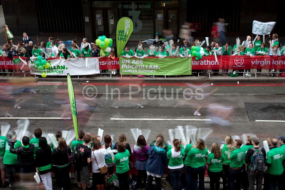 2010 Virgin London Marathon. Supporters of MacMillan Cancer Support.