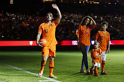 (L-R) Wesley Sneijder of Holland, Yolanthe Sneijder-Cabau, Xess Xava, Jessey Sneijder during the International friendly match match between The Netherlands and Peru at the Johan Cruijff Arena on September 06, 2018 in Amsterdam, The Netherlands