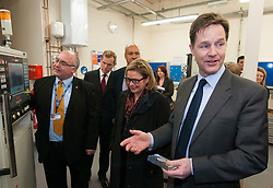 © Licensed to London News Pictures.  11/12/2014. Taunton, Somerset, UK.  Deputy Prime Minister Nick Clegg sees the computer numerical control mill at Somerset College to see its apprenticeship programme in action. it was announced earlier this week that the Liberal Democrats have fulfilled their commitment to starting 2 million apprenticeships this parliament.  Photo credit : Simon Chapman/LNP