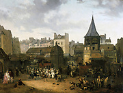 Rejoicing at Les Halles to Celebrate the Birth of Dauphin Louis of France (1781-1789), 21 January 1781. Oil on canvas, 1781 , by Philibeert Louis Debucourt (1755-1832) French painter. Paris France Food Market