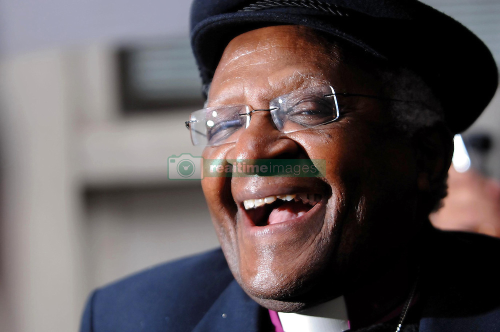 Archbishop Desmond Tutu at Fen Court in the City of London to unveil a new sculpture, Gilt of Cain, by artist Michael Visocchi and poet Lemn Sissay, which marks the bicentenary of the abolition of the transatlantic slave trade.