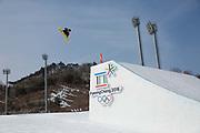 Matias Schmitt, Argentina, during the mens snowboard big air qualification at the Pyeongchang 2018 Winter Olympics on February 21st 2018, at the Alpensia Ski Jumping Centre in Pyeongchang-gun, South Korea
