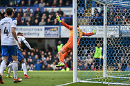 Portsmouth Midfielder, Gareth Evans (26) scores a goal to make it 3-1 during the EFL Sky Bet League 1 match between Portsmouth and Rochdale at Fratton Park, Portsmouth, England on 13 April 2019.