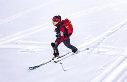 THEMENBILD - eine Skitournengeherin bei ihrem Aufstieg im freien Gelände, aufgenommen am 23. Januar 2019 in Kaprun, Oesterreich // a ski tourer on her ascent in open terrain in Kaprun, Austria on 2019/01/23. EXPA Pictures © 2019, PhotoCredit: EXPA/ JFK