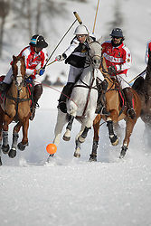 Pablo Jauretche for team Germany<br /> chased by Frederico Bachmann and Bautista Ortiz de Urbina for team Switzerland<br /> Match Germany - Switzerland<br /> St.Moritz Polo World Cup On Snow 2011<br /> © Dirk Caremans