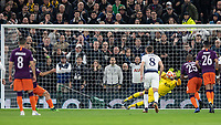 Football - 2018 / 2019 UEFA Champions League - Quarter Final , First Leg: Tottenham Hotspur vs. Manchester City<br /> <br /> Hugo Lloris (Tottenham FC) saves the penalty from Sergio Aguero (Manchester City) at White Hart Lane Stadium.<br /> <br /> COLORSPORT/DANIEL BEARHAM