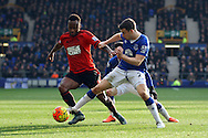 Seamus Coleman of Everton (r) looks to tackle Saido Berahino of West Bromwich Albion. Barclays Premier League match, Everton v West Bromwich Albion at Goodison Park in Liverpool on Saturday 13th February 2016.<br /> pic by Chris Stading, Andrew Orchard sports photography.