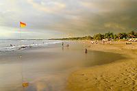Bali, Badung, Kuta. Kuta Beach just before sunset.