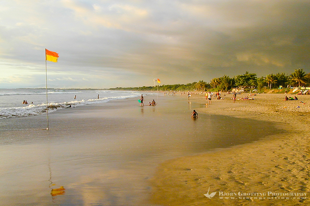 Bali, Badung, Kuta. Kuta Beach just before sunset.