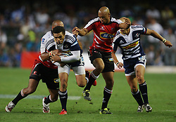 Bryan Habana almost makes it through a gap during the Super Rugby (Super 15) fixture between the DHL Stormers and the Lions held at DHL Newlands Stadium in Cape Town, South Africa on 26 February 2011. Photo by Jacques Rossouw/SPORTZPICS