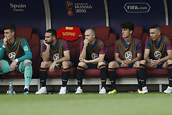 (l-r) Andres Iniesta of Spain(c) during the 2018 FIFA World Cup Russia round of 16 match between Spain and Russia at the Luzhniki Stadium on July 01, 2018 in Moscow, Russia