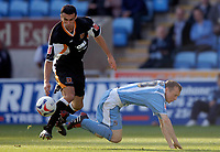 Photo: Henry Browne.<br /> Coventry City v Hull City. Coca Cola Championship.<br /> 24/09/2005.<br /> Mark Lynch of Hull fouls Willo Flood of Coventry and gets sent off.