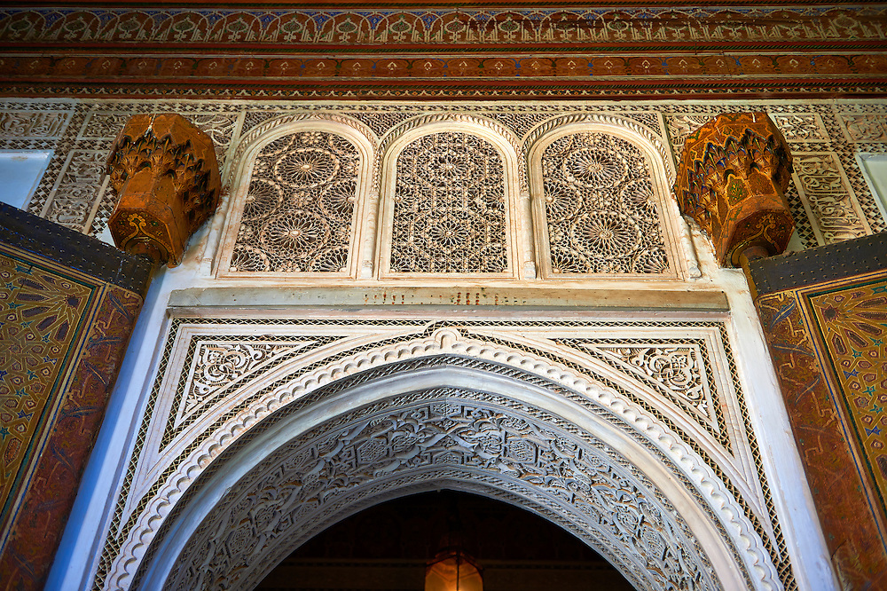 Berber arabesque Mocarabe and Muqarnas plasterwork.The Petite Court, Bahia Palace, Marrakesh, Morroco .<br /> <br /> Visit our MOROCCO HISTORIC PLAXES PHOTO COLLECTIONS for more   photos  to download or buy as prints https://funkystock.photoshelter.com/gallery-collection/Morocco-Pictures-Photos-and-Images/C0000ds6t1_cvhPo<br /> .<br /> <br /> Visit our ISLAMIC HISTORICAL PLACES PHOTO COLLECTIONS for more photos to download or buy as wall art prints https://funkystock.photoshelter.com/gallery-collection/Islam-Islamic-Historic-Places-Architecture-Pictures-Images-of/C0000n7SGOHt9XWI