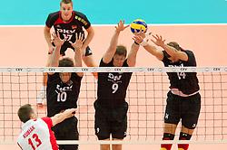 10.09.2011, O2 Arena, Prag, CZE, Europameisterschaft Volleyball Maenner, Vorrunde D, Deutschland (GER) vs Polen (POL), im Bild Michal Kubiak (#13 POL) - Jochen Schöps/Schoeps (#10 GER / Odintsovo RUS), Stefan Hübner/Huebner (#9 GER / Dueren GER), Robert Kromm (#14 GER / Verona ITA) // during the 2011 CEV European Championship, Germany vs Poland at O2 Arena, Prague, 2011-09-10. EXPA Pictures © 2011, PhotoCredit: EXPA/ nph/  Kurth       ****** out of GER / CRO  / BEL ******