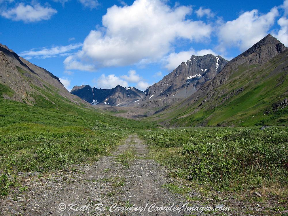 Air strip at a Dall Sheep Hunters Base Camp in the Chugach Mountains of Alaska