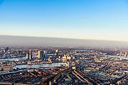 Nederland, Zuid-Holland, Rotterdam, 07-02-2018; Rotterdam-Zuid in winters avondlicht, bij zonsondergang. Stadsdeel Feijenoord met Tarwewijk, Bloemhof en Afrikaanderwijk. Zicht op Maashaven, Katendrecht en Kop van Zuid.<br /> South Rotterdam, with former harbour quarter Katendrecht<br /> <br /> luchtfoto (toeslag op standard tarieven);<br /> aerial photo (additional fee required);<br /> copyright foto/photo Siebe Swart