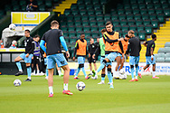Forest Green Rovers players warming up ahead of the Pre-Season Friendly match between Yeovil Town and Forest Green Rovers at Huish Park, Yeovil, England on 31 July 2021.