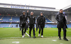 Hearts (from left to right) Craig Wighton, Callumn Morrison, Anthony Macdonald and Jake Mulraney before the Ladbrokes Scottish Premiership match at Ibrox Stadium, Glasgow.