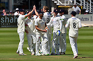 Gloucestershire players celebrate Craig Miles taking Paul Horton wicket during the LV County Championship Div 2 match between Gloucestershire County Cricket Club and Lancashire County Cricket Club at the Bristol County Ground, Bristol, United Kingdom on 7 June 2015. Photo by Alan Franklin.