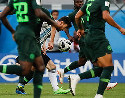 June 26, 2018 - Saint Petersburg, Russia - Lionel Messi (C) of Argentina national team in action during the 2018 FIFA World Cup Russia group D match between Nigeria and Argentina on June 26, 2018 at Saint Petersburg Stadium in Saint Petersburg, Russia. (Credit Image: © Mike Kireev/NurPhoto via ZUMA Press)
