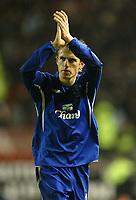 Photo: Aidan Ellis.<br /> Manchester United v Everton. The Barclays Premiership.<br /> 11/12/2005.<br /> Everton's Phil Neville applauds the United fans