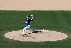 March 18, 2018 - Las Vegas, NV, U.S. - LAS VEGAS, NV - MARCH 18: Alec Mills (24) of the Cubs delivers a pitch during a game between the Chicago Cubs and Cleveland Indians as part of Big League Weekend on March 18, 2018 at Cashman Field in Las Vegas, Nevada. (Photo by Jeff Speer/Icon Sportswire) (Credit Image: © Jeff Speer/Icon SMI via ZUMA Press)
