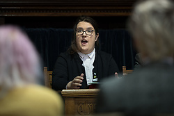 © Licensed to London News Pictures. 28/04/2017. LONDON, UK. AIMEE CHALLENOR, Green Party LGBTIQA+ spokesperson at the Green Party LGBTIQA+ manifesto launch, at Trinity United Reform Church in London. Jonathan Bartley and Aimee Challenor today set out set out the Green Party LGBTIQA+ manifesto pledges, including commitment to provide the HIV prevention drug PrEP on the NHS.  Photo credit: Vickie Flores/LNP