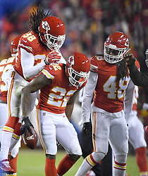 October 30, 2017 - Kansas City, MO, USA - Kansas City Chiefs cornerback Marcus Peters is congratulated after intercepting a pass intended for Denver Broncos tight end Jeff Heuerman in the first quarter during Monday's football game on Oct. 30, 2017 at Arrowhead Stadium in Kansas City, Mo. (Credit Image: © John Sleezer/TNS via ZUMA Wire)